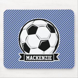 Soccer Ball, Blue & White Stripes, Sports Mouse Pad