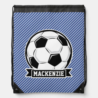 Soccer Ball, Blue & White Stripes, Sports Cinch Bags
