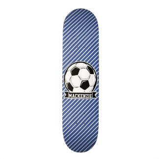 Soccer Ball, Blue & White Stripes, Sports Custom Skateboard