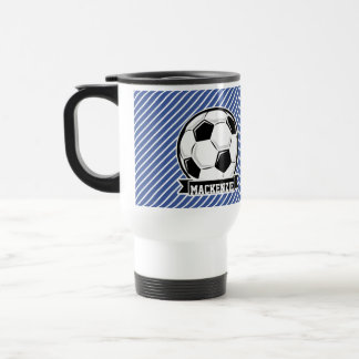 Soccer Ball, Blue & White Stripes, Sports Travel Mug