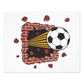soccer ball breaking through bricks custom flyer