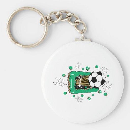soccer ball breaking through field basic round button keychain