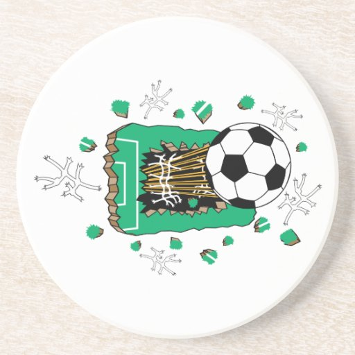 soccer ball breaking through field beverage coasters