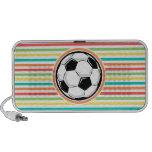 Soccer Ball; Bright Rainbow Stripes Mini Speakers