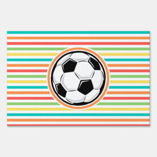Soccer Ball; Bright Rainbow Stripes Sign