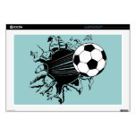 "Soccer Ball Busting Out 17"" Laptop Skins"