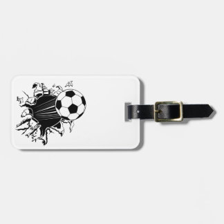Soccer Ball Busting Out Bag Tag