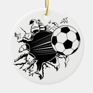Soccer Ball Busting Out Ceramic Ornament