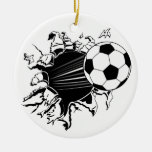 Soccer Ball Busting Out Christmas Ornament