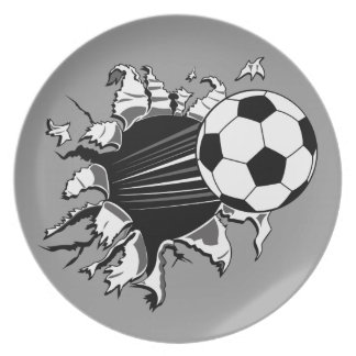 Soccer Ball Busting Out Dinner Plate