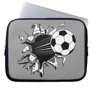 Soccer Ball Busting Out Laptop Computer Sleeves