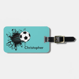 Soccer Ball Busting Out Personalized Luggage Tag