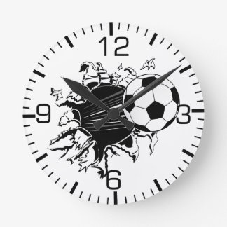 Soccer Ball Busting Out Round Clock