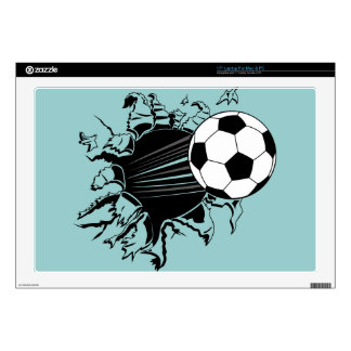 Soccer Ball Busting Out Decal For Laptop