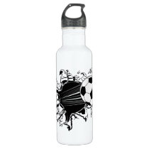 Soccer Ball Busting Out Stainless Steel Water Bottle