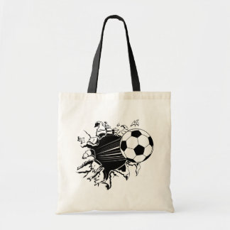 Soccer Ball Busting Out Tote Bag