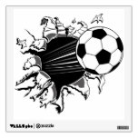 Soccer Ball Busting Out Wall Decal