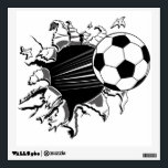 "Soccer Ball Busting Out Wall Decal<br><div class=""desc"">Soccer Ball illustration bursting out of shirts and merchandise. You can change the background color to your favorite Soccer team and you can also personalize it.</div>"