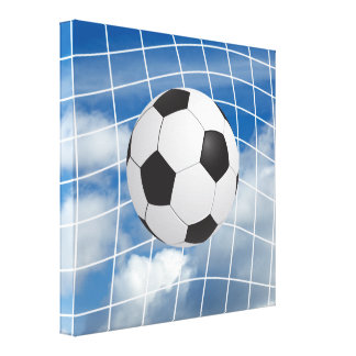 Soccer ball stretched canvas print