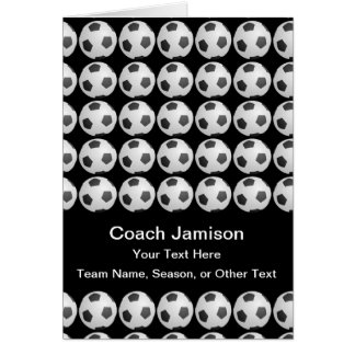Soccer Ball Card for Coach, Black, Blank Inside
