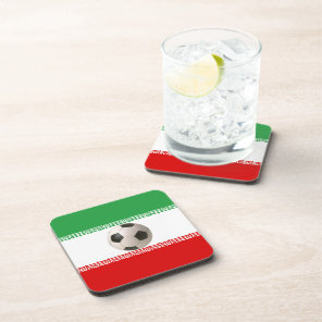 Soccer ball center of Iranian flag Beverage Coaster