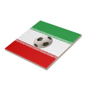 Soccer ball center of Iranian flag Ceramic Tile