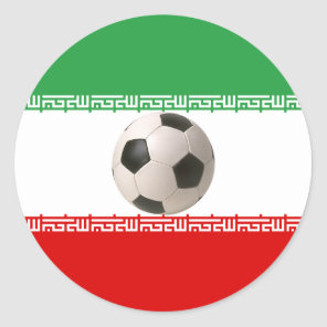 Soccer ball center of Iranian flag Classic Round Sticker
