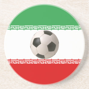 Soccer ball center of Iranian flag Drink Coaster