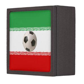 Soccer ball center of Iranian flag Jewelry Box