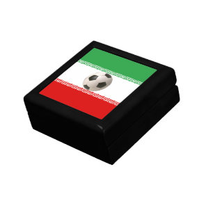 Soccer ball center of Iranian flag Jewelry Box