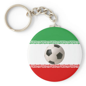 Soccer ball center of Iranian flag Keychain