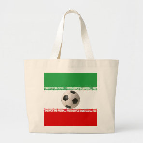 Soccer ball center of Iranian flag Large Tote Bag