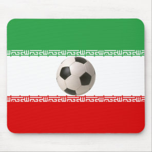 Soccer ball center of Iranian flag Mouse Pad