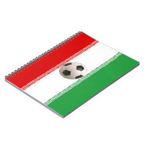 Soccer ball center of Iranian flag Notebook