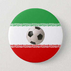 Soccer ball center of Iranian flag Pinback Button