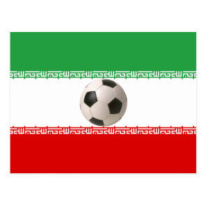 Soccer ball center of Iranian flag Postcard