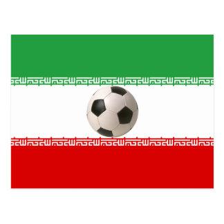 Soccer ball center of Iranian flag Postcard