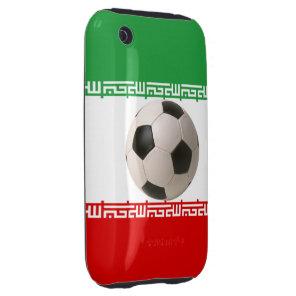 Soccer ball center of Iranian flag Tough iPhone 3 Case