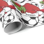 Soccer Ball Christmas Gift Wrap Paper