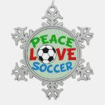 Soccer Ball Christmas Green Snowflake Pewter Christmas Ornament