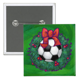 Soccer Ball Christmas Pinback Button