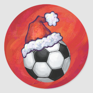 Soccer Ball Christmas Round Sticker