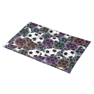 Soccer Ball Collage Cloth Placemat
