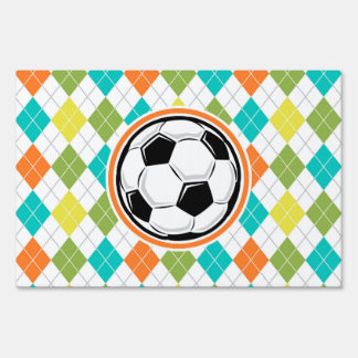 Soccer Ball; Colorful Argyle Pattern Sign