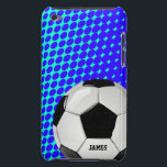 "Soccer Ball Custom iPod Touch Case<br><div class=""desc"">Custom soccer fan iPod Touch case,  with graphics of a blue and aqua dot pattern background.  Graphics of a soccer ball decorates the bottom right corner of the case and custom black text,  on the bottom,  is ready to personalize.  Great case for the sports fan or soccer player.</div>"