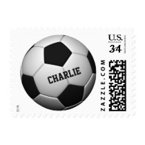 Soccer Ball custom name postage stamps