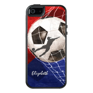 Soccer ball denting the net red blue girl's soccer OtterBox iPhone 5/5s/SE case