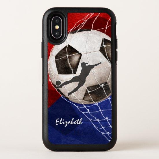 Soccer ball denting the net red blue girl's soccer OtterBox iPhone case