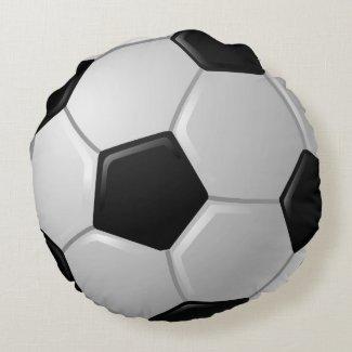 Soccer Ball Design Round Pillow