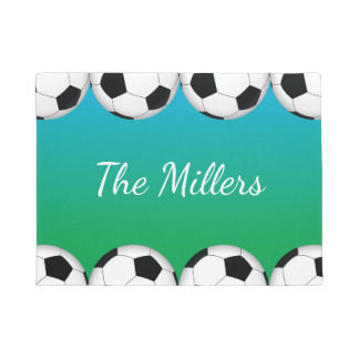 Soccer ball design with family name or monogram doormat
